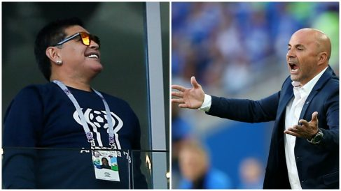 Maradona vuelve a atacar a Sampaoli tras la derrota ante Croacia. (Getty)