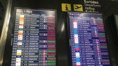 Panel de vuelos de llegadas y salidas del aeropuerto de Palma de Mallorca (Foto: Joan Guirado)