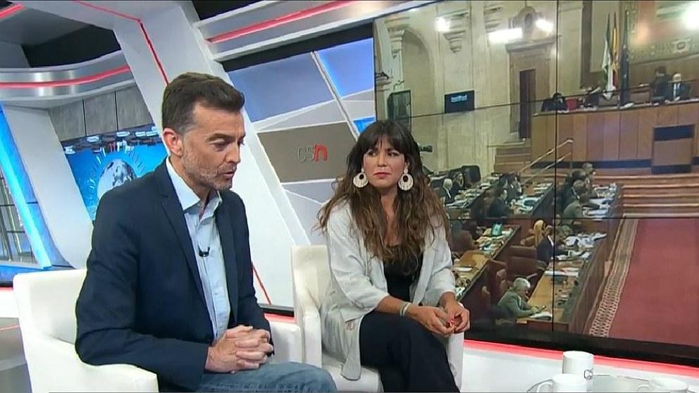 Anotonio Maíllo (IU) y Teresa Rodríguez (Podemos Andalucía), en una entrevista conjunta.