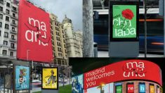 Aplicaciones del nuevo logo turístico de la ciudad de Madrid.