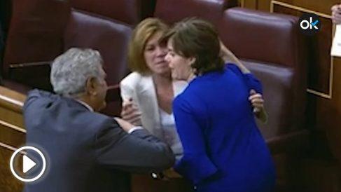 Cospedal y Sáenz de Santamaría, este martes, en el Congreso.