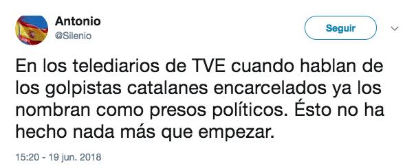 """Una periodista de TVE llama """"presos políticos independentistas"""" a los golpistas encarcelados"""