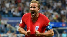 Harry Kane celebra su segundo gol a Túnez. (Getty Images)