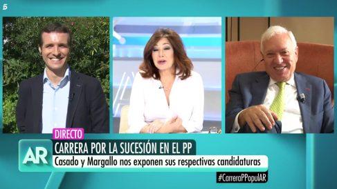 Pablo Casado y José Manuel García-Margallo en 'El programa de Ana Rosa'.