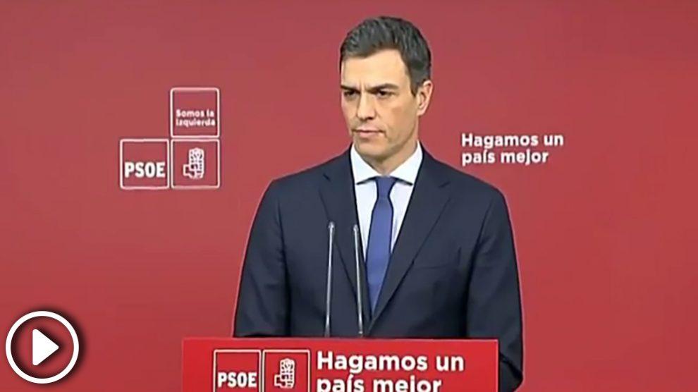 Pedro Sánchez, secretario general del PSOE en una rueda de prensa en Ferraz
