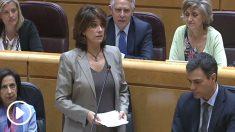 La ministra de Justicia, Dolores Delgado, en sesión de control en el Senado.