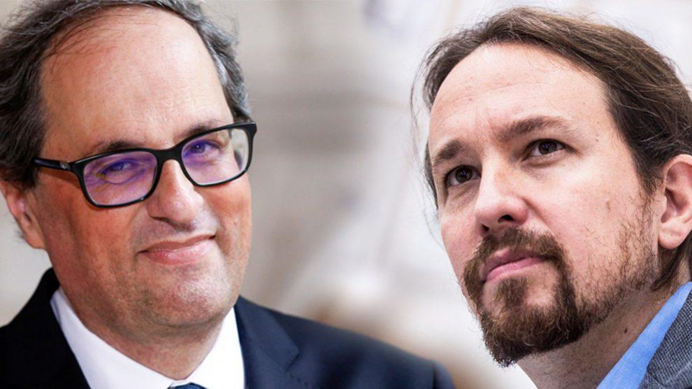 El presidente del Govern, Quim Torra, y el líder de Podemos, Pablo Iglesias