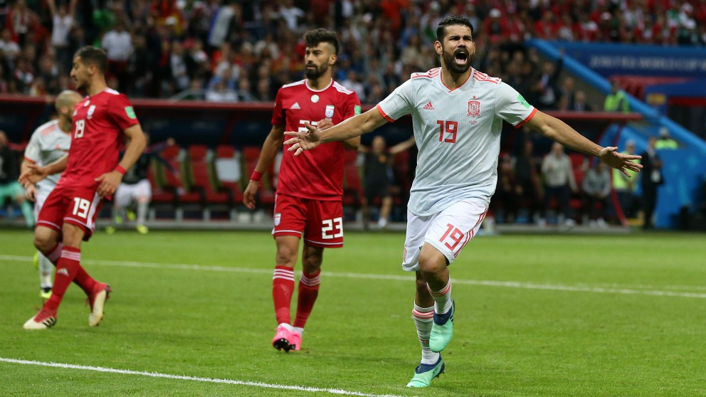 Diego Costa celebra su gol a Irán. (Getty)