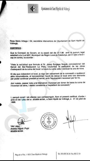 Certificado del Ayuntamiento de San Hipólito de Voltregá (Barcelona).