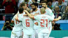 Los jugadores de España celebran el gol de Diego Costa (Getty) | Clasificación Mundial 2018