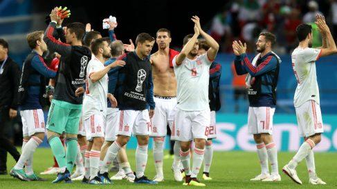 Los jugadores de España celebran la victoria ante Irán | Mundial 2018 (Getty)