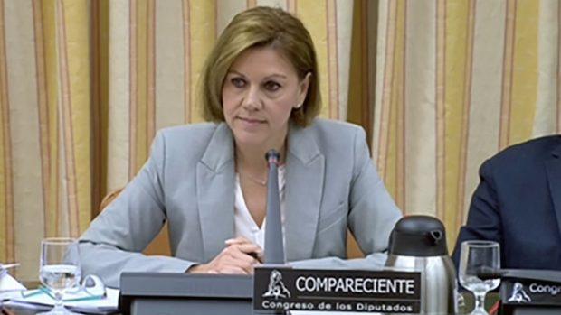 María Dolores de Cospedal durante la comisión de investigación de la financiación ilegal del PP en el Congreso de los Diputados.