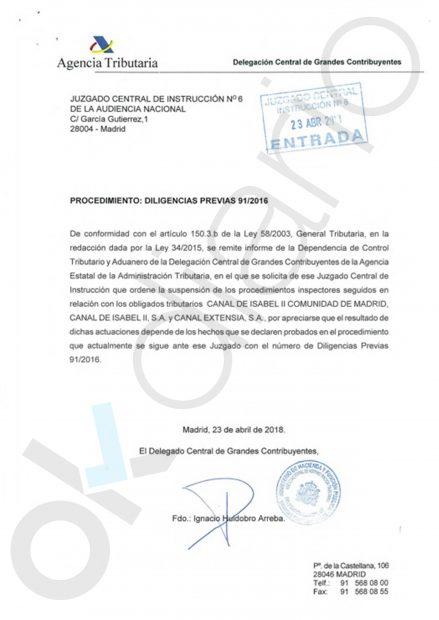 Documento de la Agencia Tributaria sobre el caso Lezo.