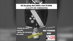 Cartel de los CDR y compartido por la ANC de la movilización para protestar contra la visita del Rey Felipe VI a Tarragona