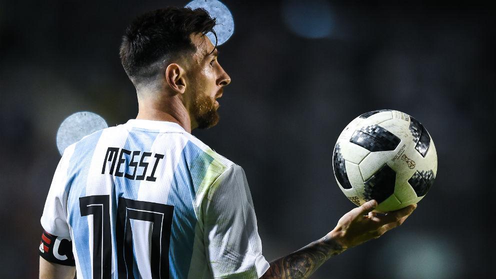 Leo Messi, en un partido de Argentina.