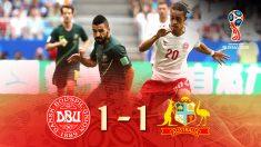 Dinamarca logra un empate ante una Australia que fue mejor.