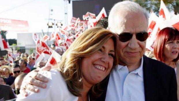 Susana Díaz y Alfonso Guerra en un mítin en vísperas de las primarias del PSOE en mayo de 2017