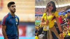 Marco Asensio y Juana Valentina, hermana de James Rodríguez.