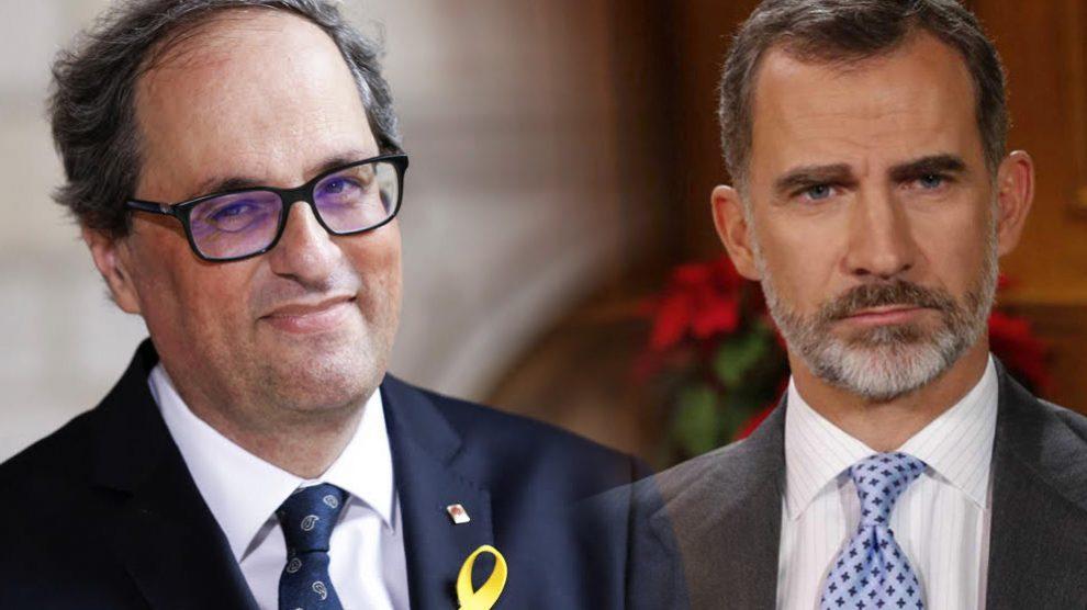 El presidente de la Generalitat, Quim Torra, y el Rey Felipe VI.