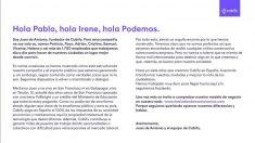 Carta del fundador de Cabify a Podemos