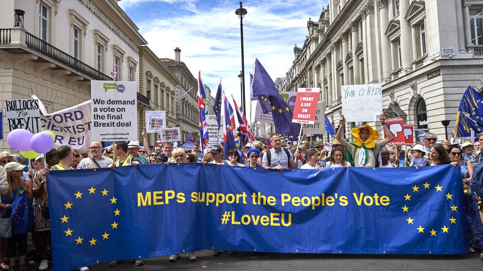 Manifestación en Londres contra el Brexit. (Foto: AFP)