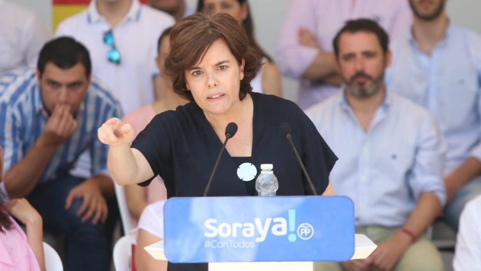 Soraya Saénz de Santamaría durante el acto de apertura de su campaña por al presidencia del PP. Foto: EuropaPress