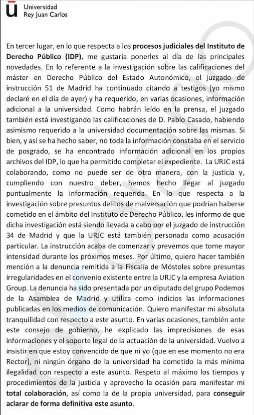 La Rey Juan Carlos admite en una nota interna que ocultó al juez información del máster de Casado