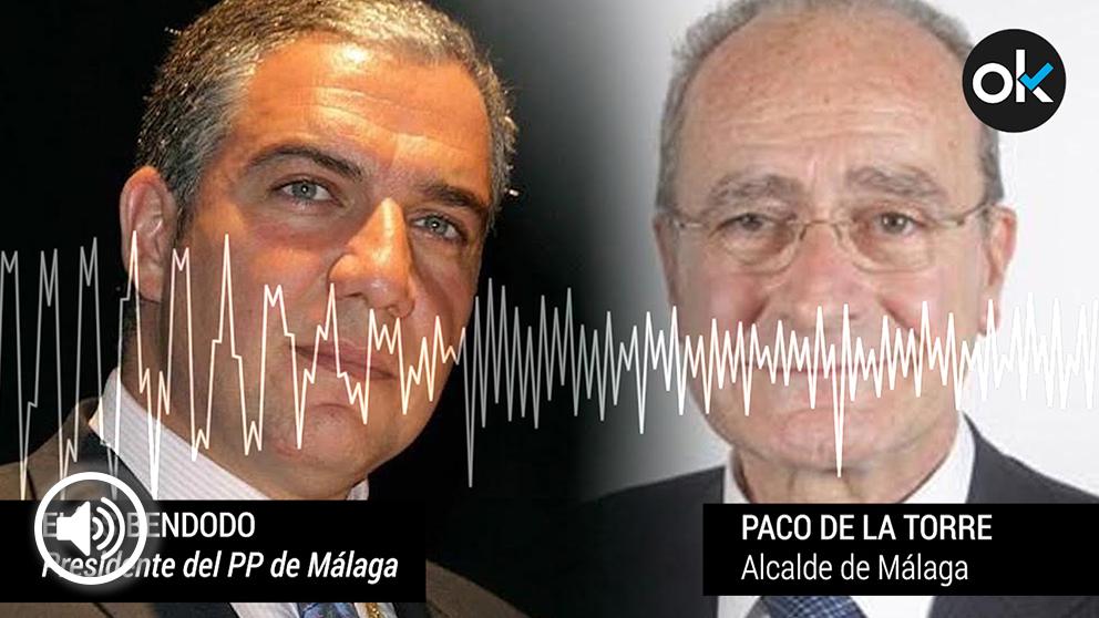 El presidente del PP de Málaga, Elías Bendodo, y el alcalde Paco de la Torre.