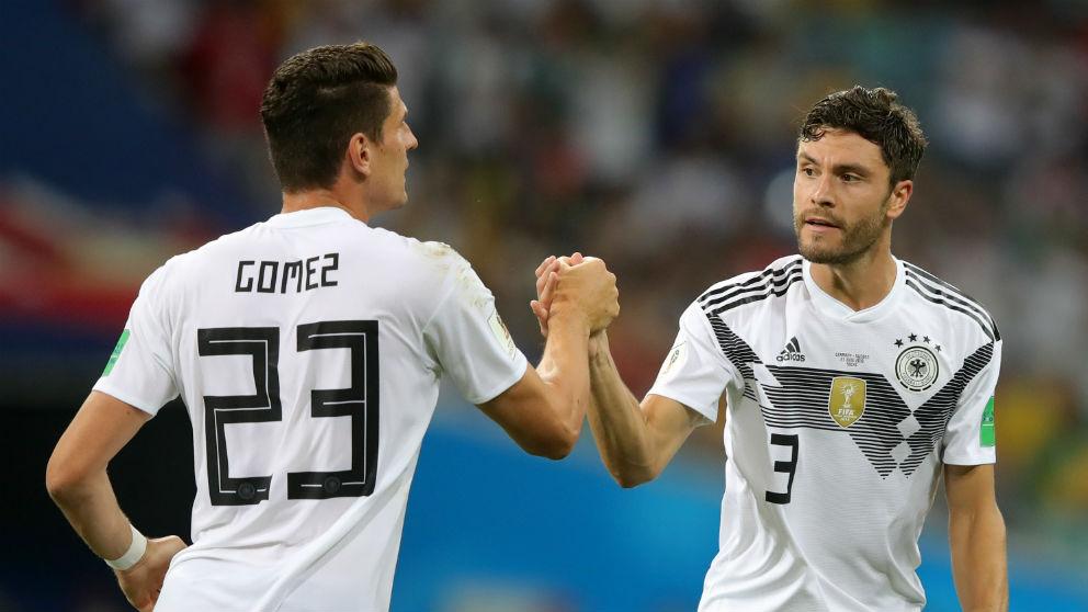 Mario Gómez y Jonas Hector celebran el gol germano | Alemania – Suecia | Mundial 2018