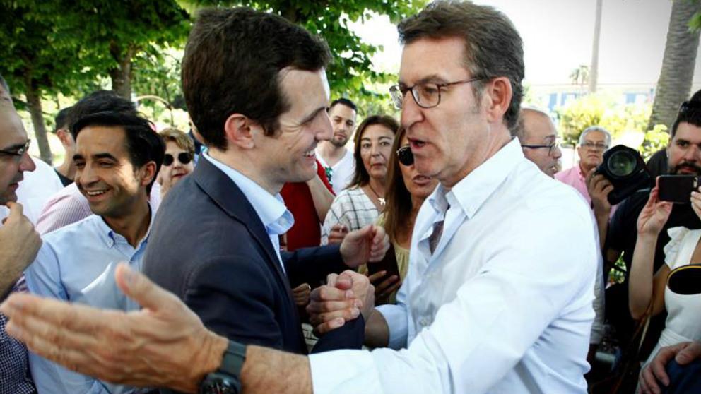 Pablo Casado y Alberto Nuñez Feijoo. (Foto: EFE)