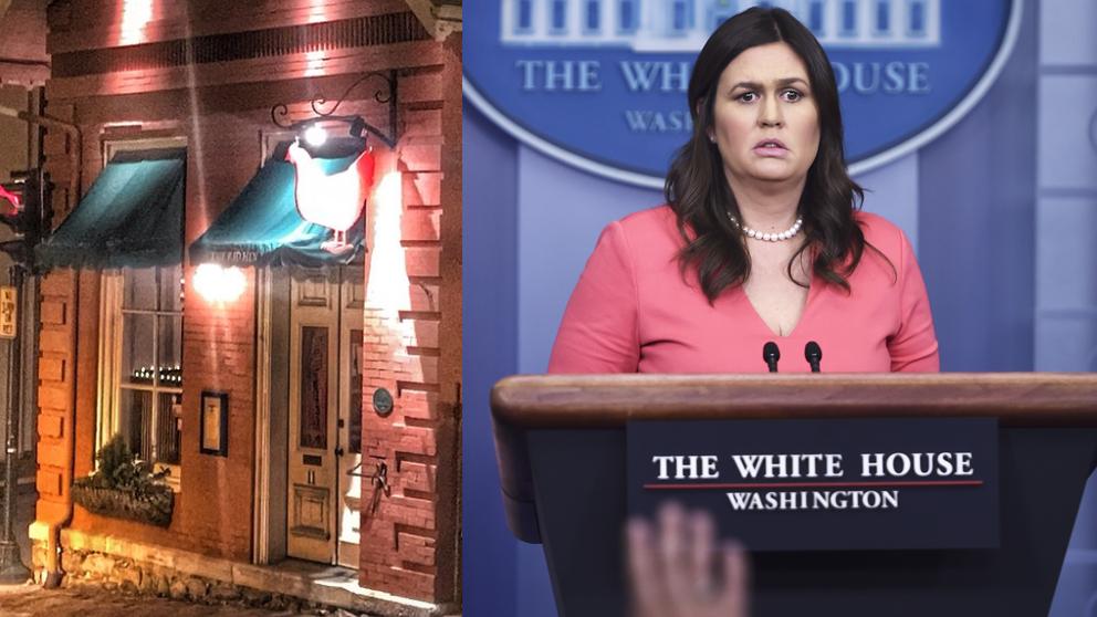 Sarah Sanders (AFP) y el restaurante Red Hen.