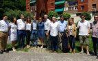 Pablo Casado junto a miembros de su candidatura y dirigentes del PP vasco este domingo en Ermua.