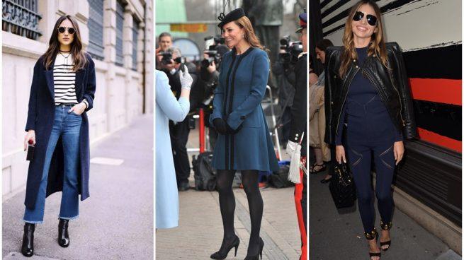 Vestido azul marino con chaqueta negra