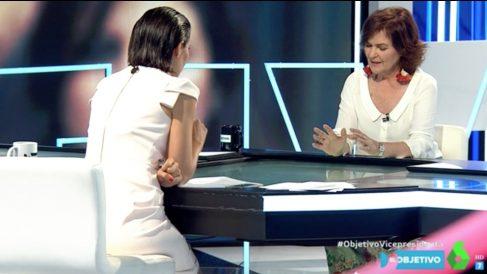 Carmen Calvo en su visita a 'El Objetivo'