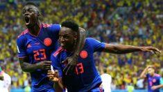 Yerry Mina celebra su gol ante Polonia. (Getty Images) | Polonia – Colombia | Mundial 2018 en directo