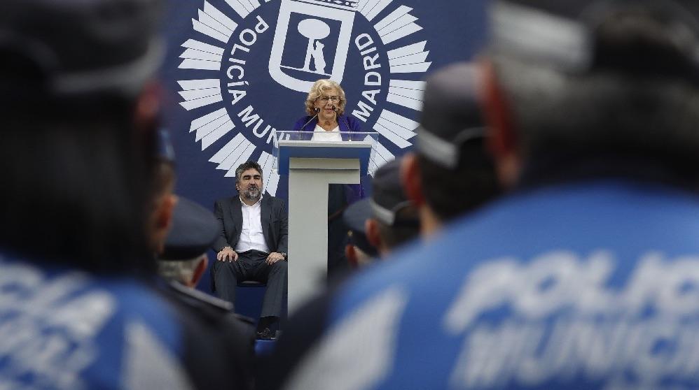 Manuela Carmena el día de la Policía Municipal. (Foto. EFE)