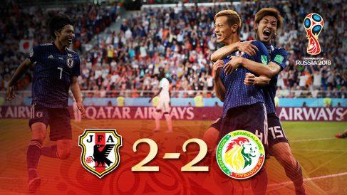 Japón y Senegal empataron a dos en un auténtico partidazo.
