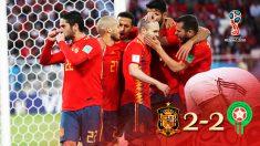 Los jugadores de España celebran el 2-2 ante Marruecos.