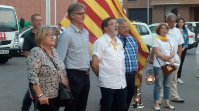 El secretario nacional del PSC, Sergi Vilamala, en la 'Flama del Canigó' en las Masías de Voltregà (Barcelona).
