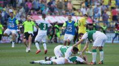 Los jugadores del Elche celebran su regreso a Segunda División. (EFE)