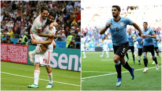 Isco, Diego Costa y Luis Suárez, celebrando sendos goles durante el Mundial.