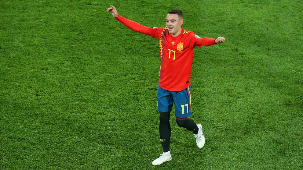 Iago Aspas celebra un gol con España. (Getty)