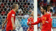 Iniesta e Isco celebran el gol de España. (Getty) | España – Marruecos | Mundial 2018 en directo