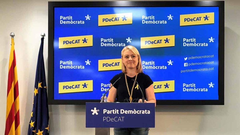 La portavoz de PDeCAT, Maria Senserrich, en una comparecencia de prensa.