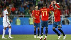 Sergio Ramos y Aspas celebran el segundo gol de España. (Getty)   España – Marruecos   Mundial 2018