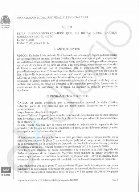 La juez del máster se inclina por no imputar a Casado tras recibir la documentación que le ocultó la Rey Juan Carlos