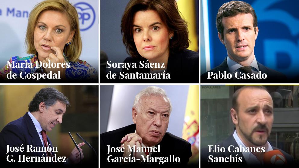 Los seis candidatos a la Presidencia del PP.