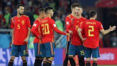 Los jugadores de la Selección, durante el España-Marruecos (Getty).