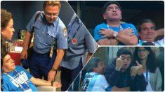 Maradona tuvo que se asistido por los médicos a la conclusión del Nigeria – Argentina.