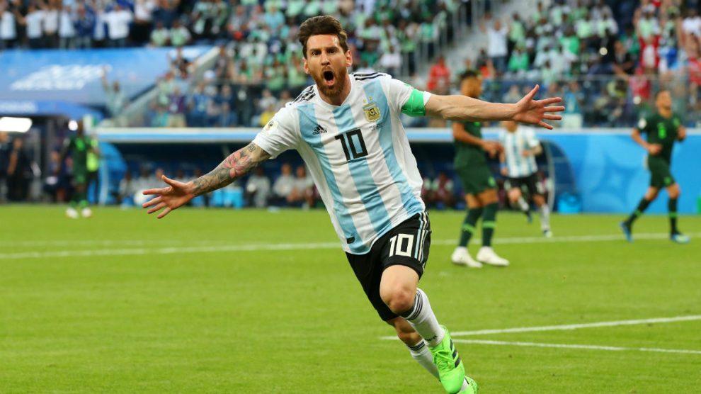 Messi celebra un gol ante Nigeria en el Mundial.